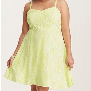 Torrid neon leaf dress. Size 3